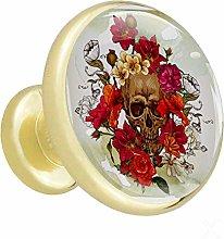 Flower Skull 4 Piece Crystal Gold Knobs Round