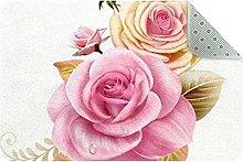 Flower Stem Leaves Door Mat, Machine Washable Soft