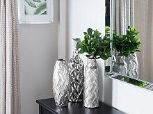Flower Vase Silver Ceramic Bottle Shape Modern Glam