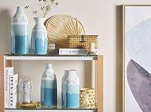 Flower Vase White and Blue Ceramic 25 cm