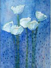 Flower White Tulips On Blue Large Wall Art Print