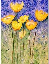 Flower Yellow Tulips Art Print Canvas Premium Wall