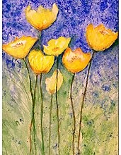 Flower Yellow Tulips Large Wall Art Print Canvas