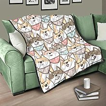 Flowerhome Cartoon Dog Quilted Bedspread Bed Throw