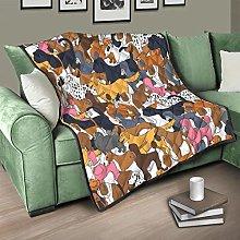 Flowerhome Dog Animals Bedspread Quilt Bed Throw