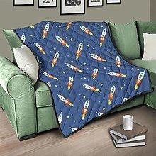 Flowerhome Rocket Spaceship Quilt, Bedspread,