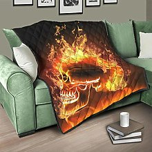 Flowerhome Skull Fire Quilted Bedspread Bed Throw