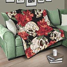 Flowerhome Skull Flowers Quilted Bedspread Bed