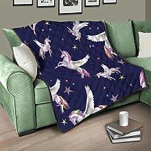 Flowerhome Unicorn Quilt Bedspread Bed Throw Sofa