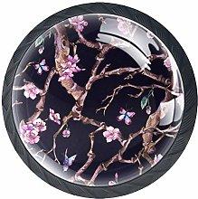 Flowering Branch Pink Crystal Drawer Handles