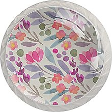 Flowers 4PCS Round Shape Cabinet Knobs for