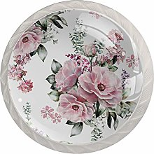 Flowers Bloom Pink 4 Pieces Crystal Glass Wardrobe