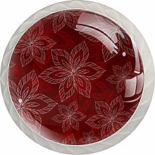 Flowers Blooming Red 4 Pieces Crystal Glass