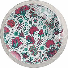 Flowers Pink Bloom White Crystal Drawer Handles