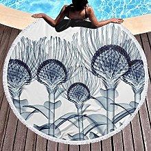Flowers Printed Round Beach Towel Yoga Picnic Mat
