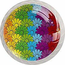 Flowers Rainbows Pattern Drawer Knobs Pulls