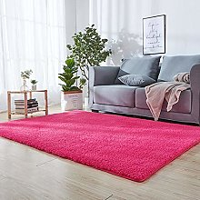 Fluffy Area Rugs 140 x 170 cm Dark Pink Absorbent
