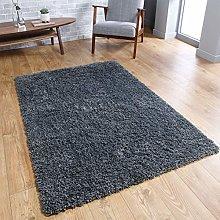 Fluffy Rug Dark Grey Shaggy Carpet for Bedroom