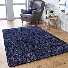 Fluffy Rug Navy Blue Shaggy Carpet for Bedroom