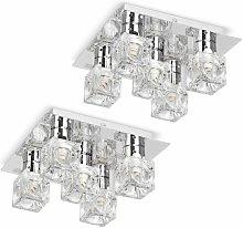 Flush Ceiling Light 2 x Chrome Glass Ice Cube 5