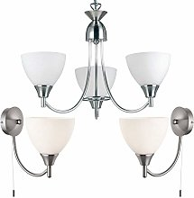 Flush/Hanging 3 Bulb Ceiling & 2X Wall Light Pack