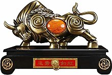 FLYAND Sculpture Figurines Cow Statue with Base