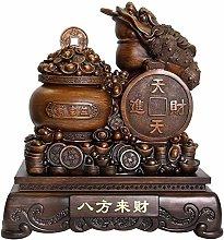 FLYAND Sculpture Figurines Feng Shui Money Frog
