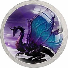 Flying Dragon Purple 4 Pieces Crystal Glass