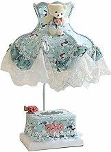 FLZ Table Lamp Bedroom Bedside Lace Fabric