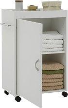 FMD Bathroom Cabinet on Swivel Wheels White