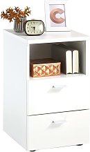 FMD Bedside Cabinet with 2 Drawers and Open Shelf