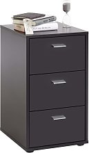 FMD Bedside Cabinet with 3 Drawers Black