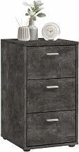 FMD Bedside Cabinet with 3 Drawers Dark Concrete