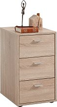 FMD Bedside Cabinet with 3 Drawers Oak