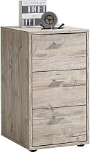 FMD Bedside Cabinet with 3 Drawers Sand Oak