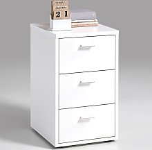 FMD Bedside Cabinet with 3 Drawers White 642-001