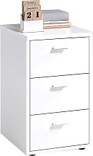 FMD Bedside Cabinet with 3 Drawers White