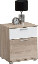 FMD Bedside Table with 2 Drawers White and Oak Tree