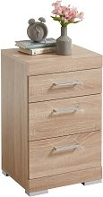 FMD Bedside Table with 3 Drawers Oak Tree