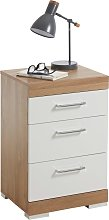 FMD Bedside Table with 3 Drawers White and Antique