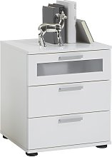 FMD Bedside Table with 3 Drawers White