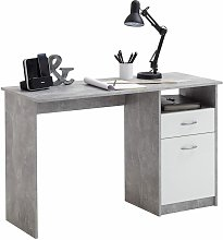 FMD Desk with 1 Drawer 123x50x76.5 cm Concrete and