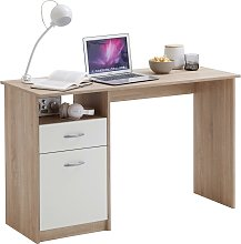 FMD Desk with 1 Drawer 123x50x76.5 cm Oak and White