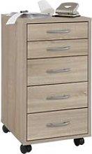 FMD Mobile 5 Drawer Cabinet Oak - Beige