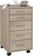 FMD Mobile 5 Drawer Cabinet Oak