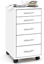 FMD Mobile 5 Drawer Cabinet White