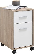 FMD Mobile Drawer Cabinet Oak and White