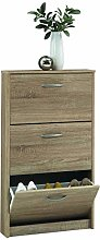 FMD Shoe Cabinet with 3 Compartments Tilting Oak
