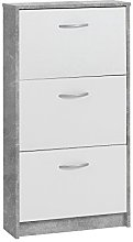 FMD Shoe Cabinet with 3 Compartments, Wood,