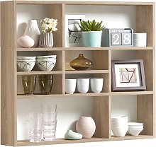 FMD Wall-mounted Shelf with 9 Compartments Oak